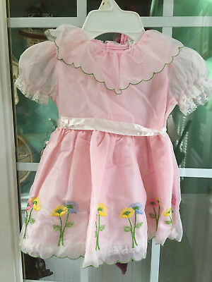 Vintage Toddler Girls Lace Trimmed Floral Embroidered Dress   Sz 4T?