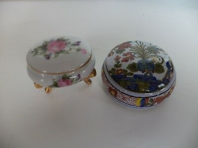 Lot Of 2 Vintage Small Floral Porcelain Trinket Boxes Cacf Faenza Italy Ew Japan