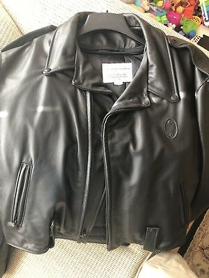 New Boston Police Leather Jacket With Belt Loops And Badge Holder, Size 50 L