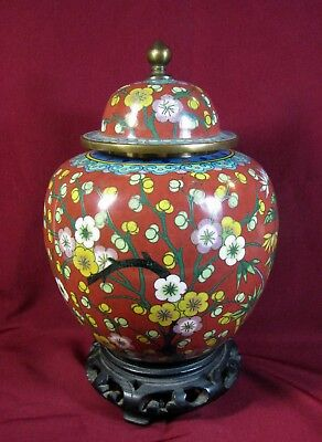 China, Cloisonne covered Ginger Jar with wooden stand c. 1900-20
