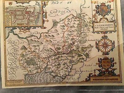 Birthday Card An Antique Map Of The Counties Of Wales. Reproduction