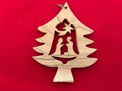 Carved Wood Nativity Holiday Ornament