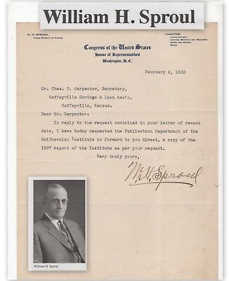 William Sprout, Kansas Congressman, on letter dated 1930   (4768