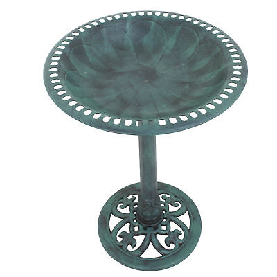 Outdoor Garden Lily Leaf Pedestal Bird Bath Decor w/Floral Accents - Copper