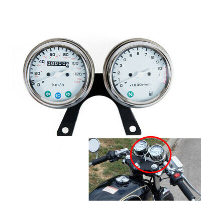 Cafe Racer Stainless steel Motorcycle odometer speed and engine speed instrument