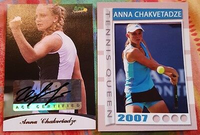 Anna CHAKVETADZE 2 cards Ace Authentic Autograph #35/85 2007 Tennis Queen #04/50