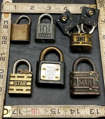 Lot Of 8 Small Vintage Antique Padlocks Brass Steel Iron BB Yale Reese RFD Mail+