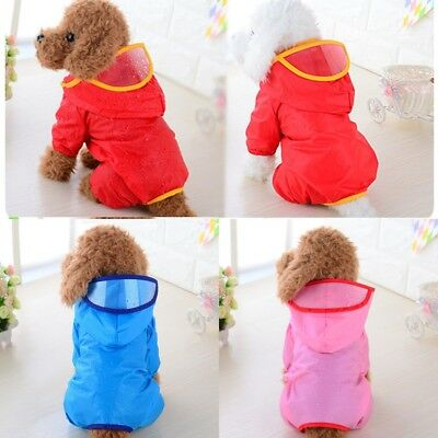 Waterproof Outdoor Pet Dog Rain Coat Clothes Puppy Jacket Hooded Raincoat