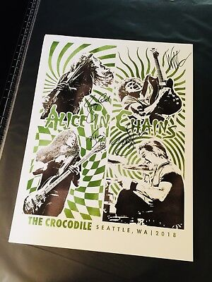 Alice In Chains Signed Crocodile Cafe Poster/Secret Show 8/24/18