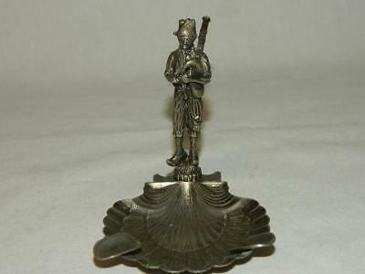 Vintage Silver Plate Figural Ashtray Man Playing Bag Pipes