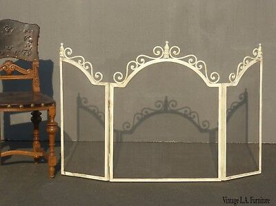 Vintage French Country Shabby Chic Off White Fireplace Screen