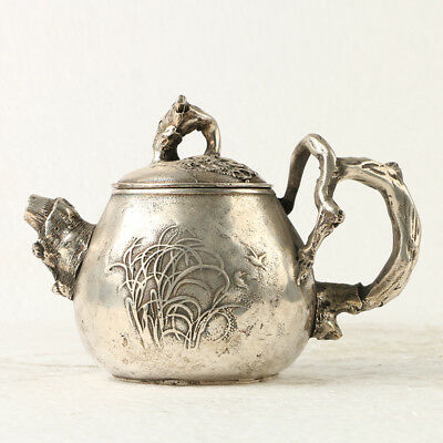China Exquisite Silver Copper Teapot Carved Plant GL211