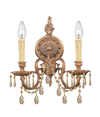Crystorama 2802-OB-CL-MWP Cast Brass Wall Mount Hand Cut Crystal Wall Sconce