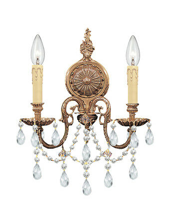 Crystorama 2702-OB-CL-MWP Cast Brass Wall Mount Hand Cut Crystal Wall Sconce