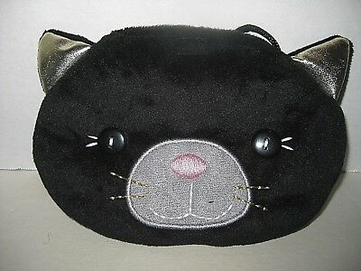 HALLOWEEN Black Cat Coin Purse, Soft Plush Material with Shoulder Strap, Coins