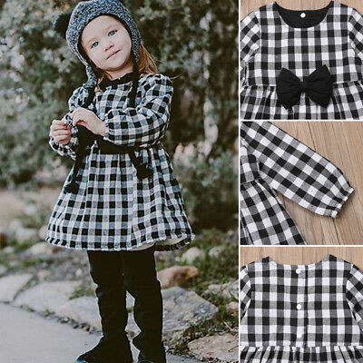 UK NEW Toddler Baby Kids Girls Princess Fall Winter Casual Dress Outfits Clothes