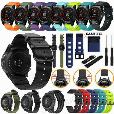 For Garmin Fenix 5 5X Plus Nylon/Silicone Strap Replacement Watch Band Bracelet
