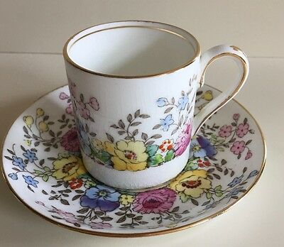 Vintage Crown Staffordshire Floral Coffee Cup & Saucer Pattern F15465.