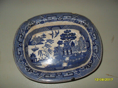 Antique Rectangular Buffalo Pottery 1916 Blue Willow Serving Dish