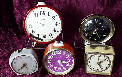Job Lot of 5 Vintage Clocks / Alarm Clocks for Spares /Repair - Assorted Makes