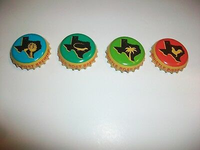 Lot of 4 Whistle Post Brewing Beer Bottle Caps Rooster Windmill Lizard Texas