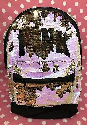 69680baa5b45 Victoria s Secret PINK Campus Backpack Sequin Bling Silver Gold Book Bag  2018
