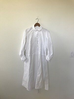 1920s RARE French White Linen Cotton Nightgown Dress