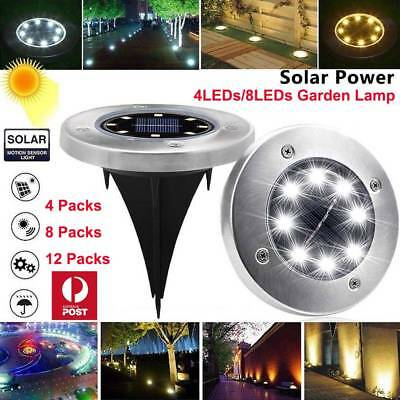 8/12x Solar Powered LED Buried Inground Recessed Light Garden Outdoor Deck Path