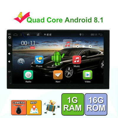 "7"" 2 Din Android 7.1 Car GPS Player WiFi 3G Radio Stereo Sat Navi Bluetooth Cam"