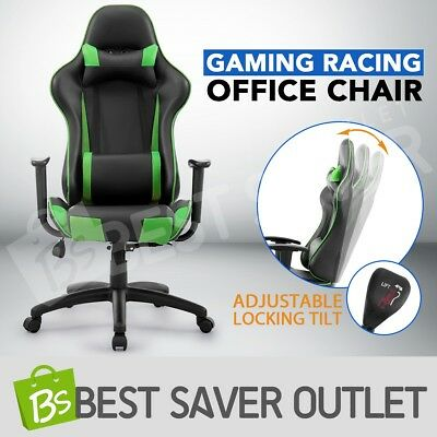 Green High Back Sport Gaming Racing Adjustable Leather Office Computer Chair