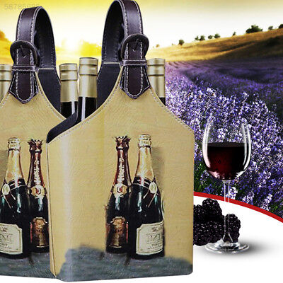 00D8 Vintage Looking Wine Gift Box Storage Holder Organizer For 2Bottles Bag