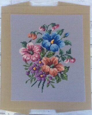 Lovely Vtg Completed Unbranded Tapestry Small Spray Of Flowers