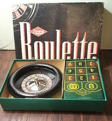 Vintage Roulette Game E.S. Lowe Co. Wheel w/ Vintage Felt, Ball, and Box