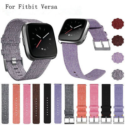 For Fitbit Versa Woven Fabric Canvas Wrist Strap Watch Band w/ Stainless Buckle