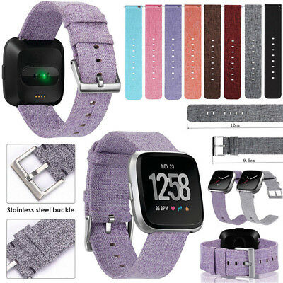 For Fitbit Versa New Replace Buckle Woven Nylon Fabric Wrist Strap Watch Band