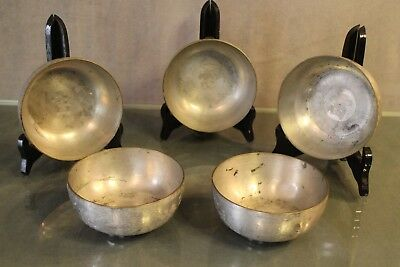 Suite of 5 bowls metal Asia Far East China asian metal bowl