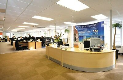 Office reception desk - beech - curved ends with straight central section.