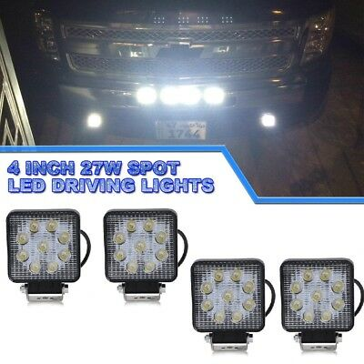 """4x 4"""" 108W Square Flood Beam LED Working fog Light Bar Pods Driving Offroad Lamp"""