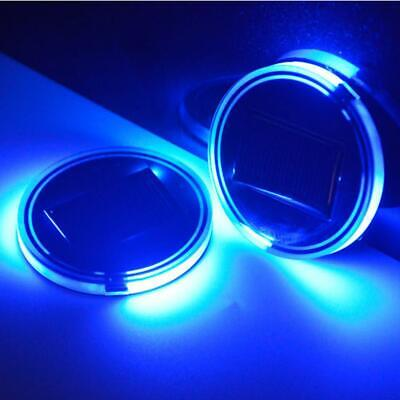 2x Solar Cup Holder Bottom Pad LED Light Cover Trim Car Interior Decoration Lamp