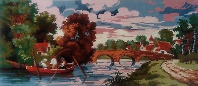 Fab Vtg Large Completed needlepoint Tapestry River fishing bridge Village