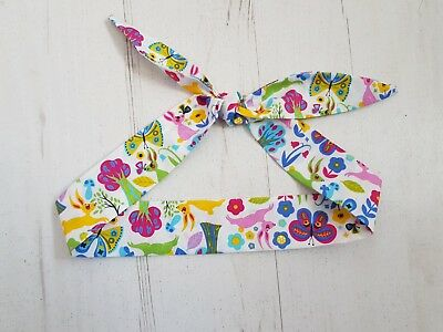 Colourful Scandinavian Rabbit and Butterfly Baby Head Scarf - Cotton Bib Shower