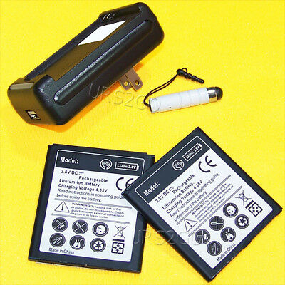 2x 2850mAh Displaceable Battery+Charger for Samsung Galaxy J3 Eclipse 2 SM-J337V