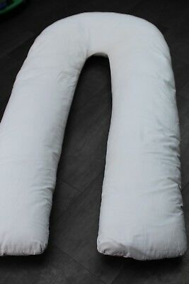 Large U Shaped Maternity Pillow & White Removable Washable Cover VGood Condition
