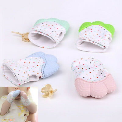 Baby Silicone Mitts Teething Mitten Glove Candy Wrapper Sound Teether Toy Hot