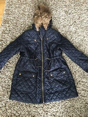New Look Blue Maternity Winter Warm Hooded Coat Size 14