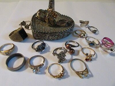Estate Junk Drawer Lot of Vintage To Now Costume Jewelry Rings & Ring Holder