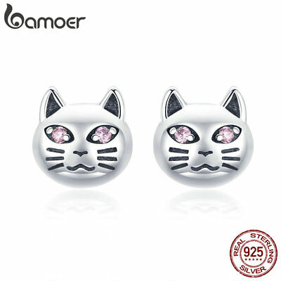 BAMOER Solid S925 Silver Stud Earrings Sticky Small Cat With AAA CZ For Women