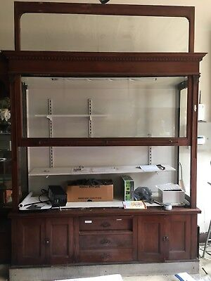 Antique Wall Cabinet Late 1800's - Early 1900's Weighted Glass Door Display Oak