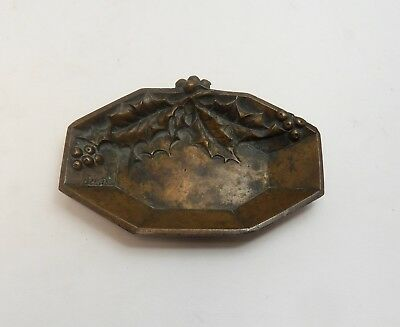 Small Antique French Art Nouveau Bronze Dish By Janeto Featuring Holly Leaves