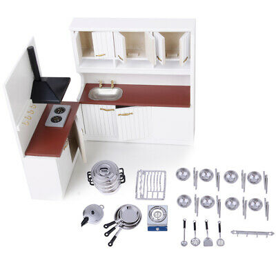 1/12 Dollhouse Miniature Kitchen Furniture with Cookware Tableware Set Accs